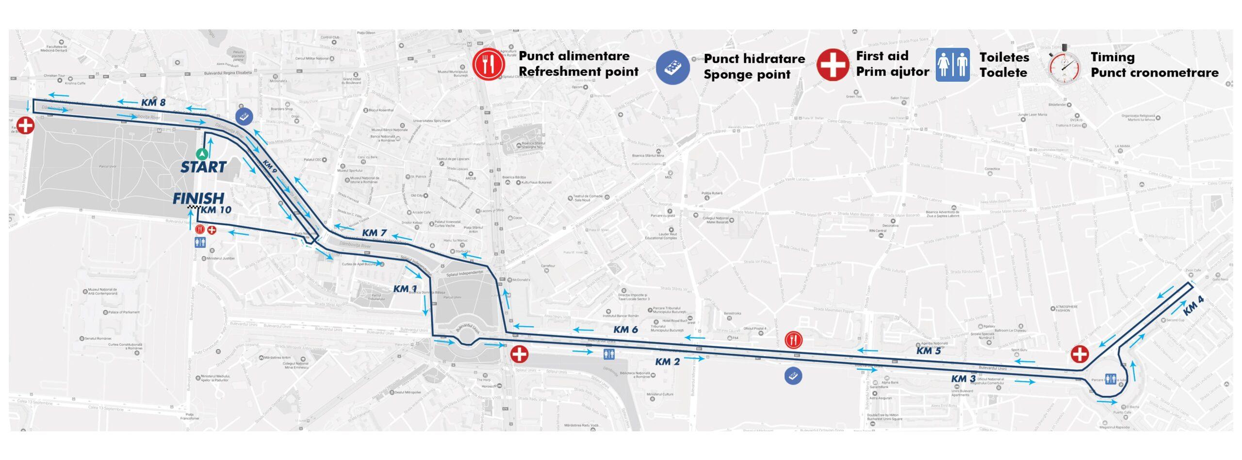 Traseu 10km OMV Petrom Bucharest Half Marathon 2021
