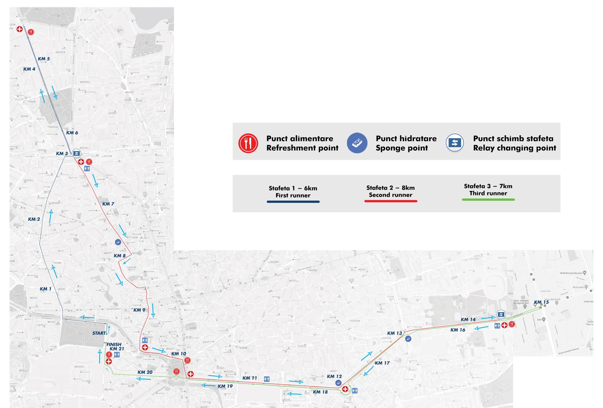 Traseu Stafeta OMV Petrom Bucharest Half Marathon 2021